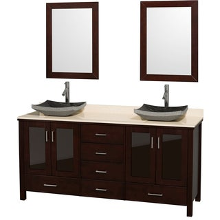 Wyndham Collection Lucy Espresso 72-inch Double Bathroom Vanity and Ivory Marble Top, Black Granite Sinks