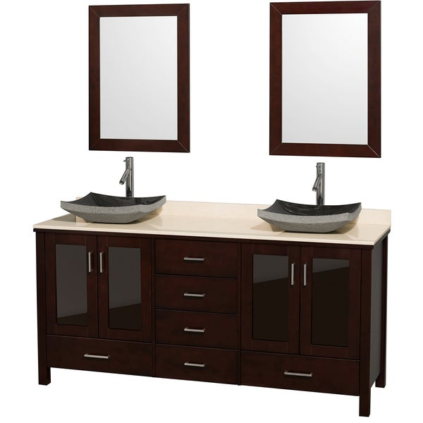 Wyndham Collection Lucy Espresso 72 Inch Double Bathroom Vanity And Ivory  Marble Top, Black