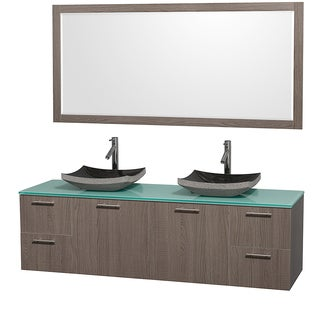 Wyndham Collection Amare Grey Oak 72-inch Double Bathroom Vanity and Green Glass Top, Black Granite Sinks