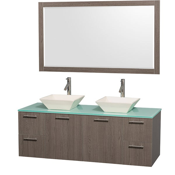 Wyndham Collection Amare Grey Oak 60-inch Double Bathroom Vanity and Green Glass Top