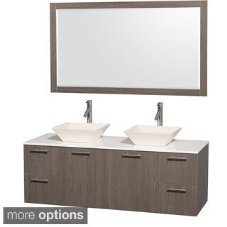 Wyndham Collection Amare Grey Oak 60-inch Double Bathroom Vanity White Man-made Stone Top