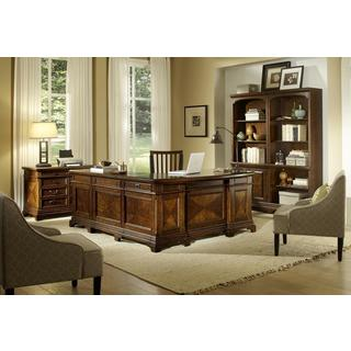 Ethan Reversible Desk with Return, 2-piece Bookcase Wall, Lateral File and Office Chair