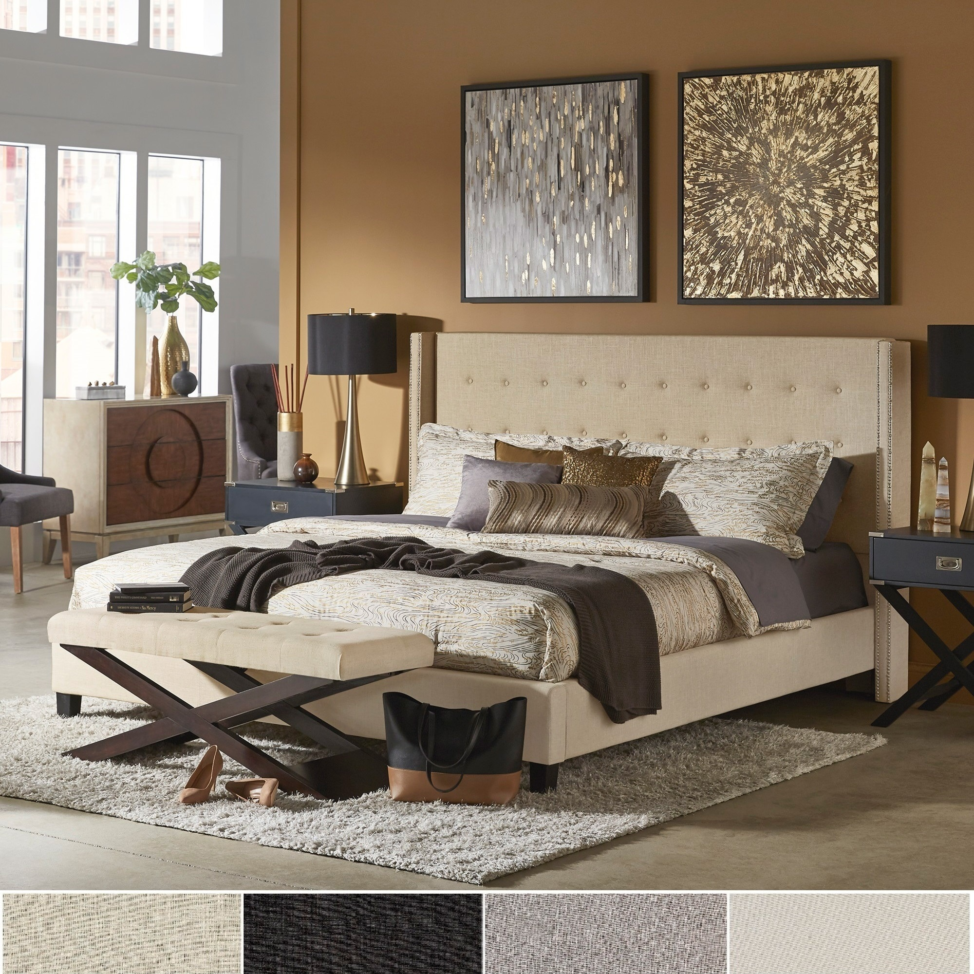 Marion Nailhead Wingback Tufted Upholstered Bed by iNSPIR...