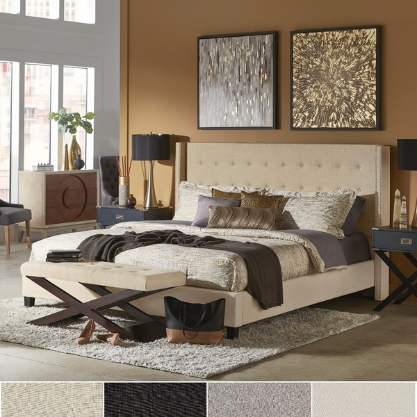 Marion Nailhead Wingback Tufted Upholstered Bed by iNSPIRE Q Bold. Opens flyout.