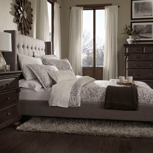 Marion Nailhead Wingback Tufted Upholstered King Bed By
