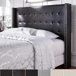 Marion Nailhead Wingback Button Tufted Queen Size Headboard by INSPIRE Q