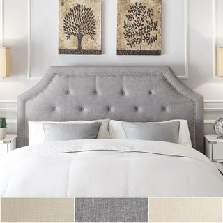 Grace Button Tufted Queen Size Fabric Headboard with Nailhead Trim by iNSPIRE Q Bold