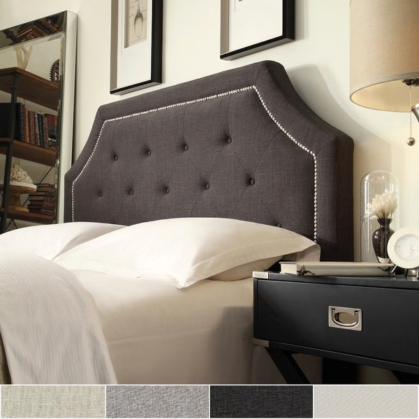 grace button tufted full size fabric headboard with nailhead trim by inspire q free shipping. Black Bedroom Furniture Sets. Home Design Ideas