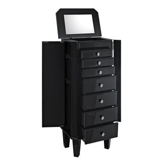 Powell Seaside Black Glass Jewelry Armoire