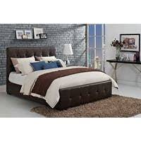 DHP Florence Brown Upholstered Queen-size Bed