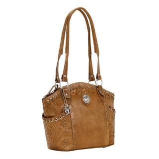 American West Golden Tan Zip top bucket Tote Bag