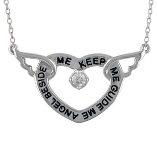 Sunstone 'Angel Beside Me' Sterling Silver Cubic Zirconia Heart Necklace in Gift Box