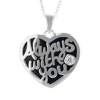 Sunstone 'Always With You' Sterling Silver Cubic Zirconia Necklace in Gift Box