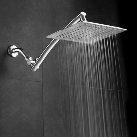 Razor Mega Size 9-inch Chrome Face Square Rainfall Shower with Arch Design and 15-inch Stainless Steel Extension Arm