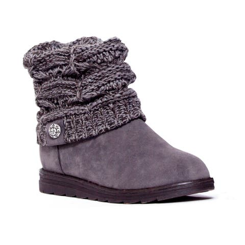 Women's MUK LUKS Patti Cable Cuff Boot Grey