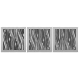 Monochrome Artwork 'Pewter Essence' Black/ Grey Modern Metal Wall Art