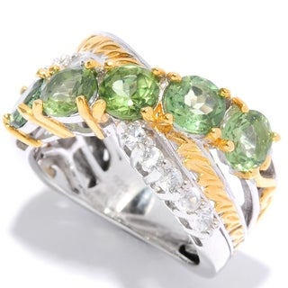 Michael Valitutti Palladium Silver Green Apatite and Zircon Twist Ring