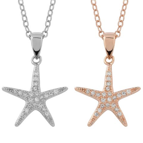 Fremada Gold Over Sterling Silver with Cubic Zirconia Star Necklace
