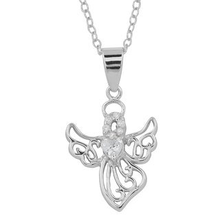 Fremada Rhodium Plated Sterling Silver and Cubic Zirconia Heart Angel Necklace