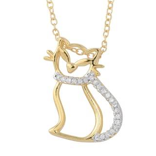 Fremada Two-tone Gold Over Sterling Silver and Cubic Zirconia Cat Necklace