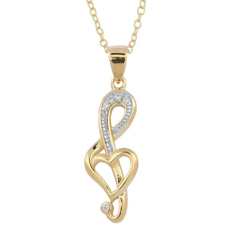 Fremada Two-tone Gold Over Sterling Silver and Cubic Zirconia G-clef Necklace