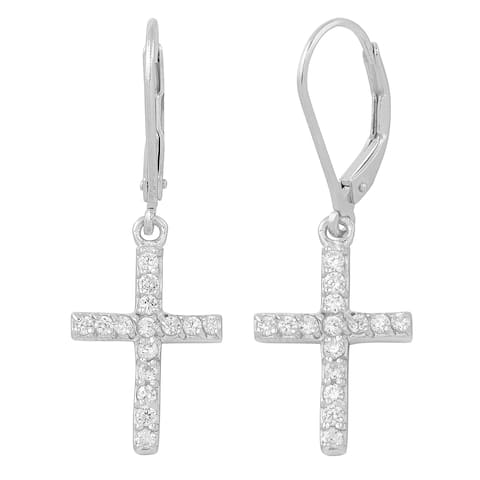 Fremada Rhodium Plated Sterling Silver with Cubic Zirconia Cross Earrings