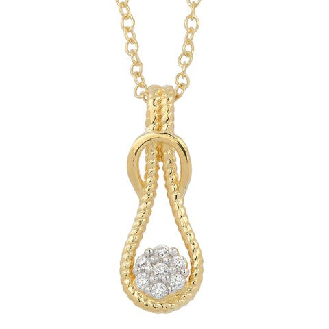 Fremada Two-tone Gold Over Sterling Silver and Cubic Zirconia Love Knot Necklace