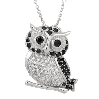 Fremada Rhodium Plated Sterling Silver with Cubic Zirconia Owl Brooch Necklace