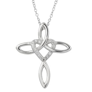 Fremada Rhodium Plated Sterling Silver with Cubic Zirconia Ribbon Cross and Heart Necklace