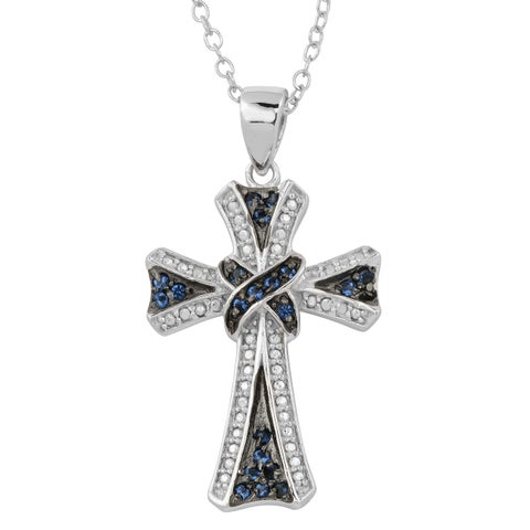 Fremada Rhodium Plated Sterling Silver with Glass Sapphire Cross Necklace