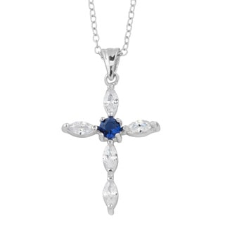 Fremada Rhodium Plated Sterling Silver Blue and White Cubic Zirconia Cross Necklace