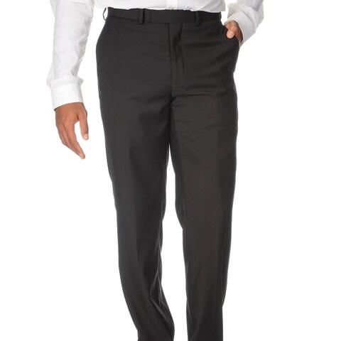 Caravelli Men's Slim Fit Black Flat-front Pants