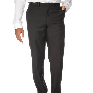 Caravelli Men's Slim Fit Black Flat-front Pants