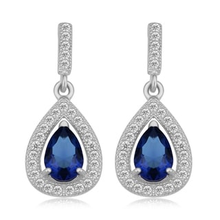 Fremada Rhodium Plated Sterling Silver Simulated Sapphire Vintage Drop Earrings