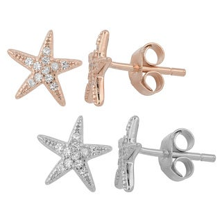 Fremada Gold Over Sterling Silver and Cubic Zirconia Star Fish Stud Earrings