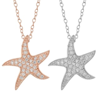 Fremada Gold Over Sterling Silver with Cubic Zirconia Starfish Necklace
