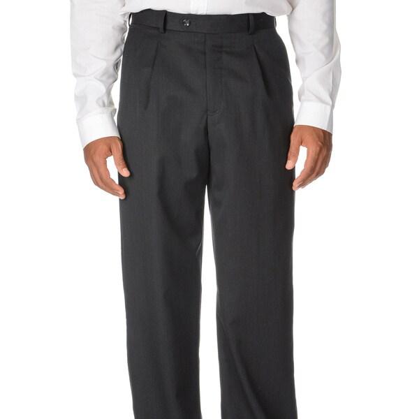 Cianni Cellini Men's Charcoal Wool Gabardine Pants
