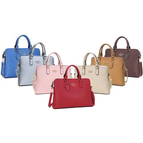 Dasein Faux Leather Slim Rolled Handle/Removable Strap Briefcase Satchel Handbag