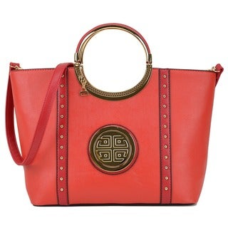 Link to Dasein Studded Zip Accent Emblem Satchel Handbag with Shoulder Strap Similar Items in Shop By Style