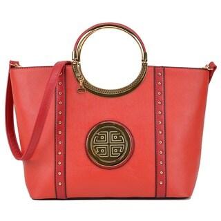 Dasein Studded Zip Accent Emblem Satchel Handbag with Shoulder Strap