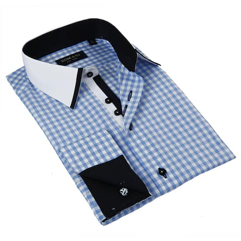 Domani Blue Luxe Men's Light Blue Button-down Dress Shirt