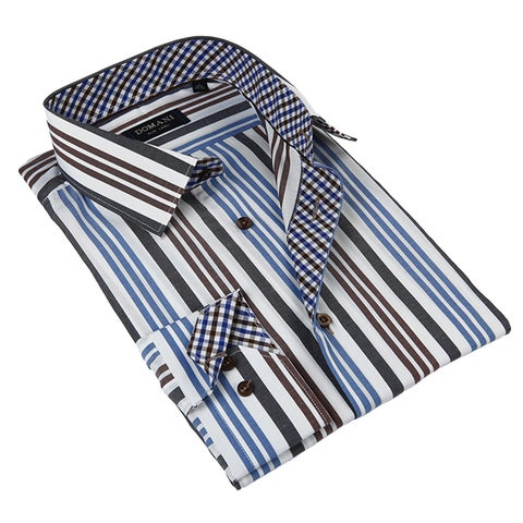 Domani Blue Luxe Men's Blue Button-down Dress Shirt