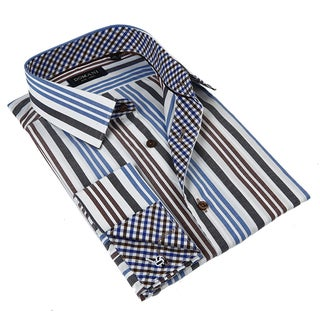 Domani Blue Luxe Men's Light Blue Striped Button-down Dress Shirt
