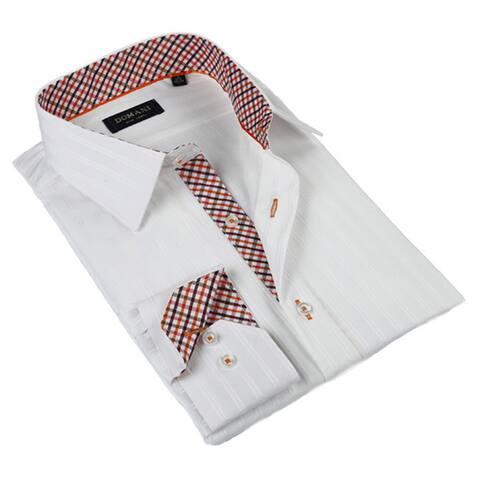 Domani Blue Luxe Men's White Button-down Dress Shirt