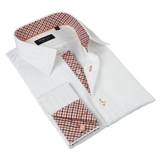 Domani Blue Luxe Men's White and Red Button-down Dress Shirt