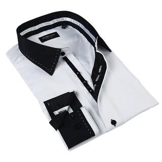 Domani Blue Luxe Men's White and Black Button-down Dress Shirt