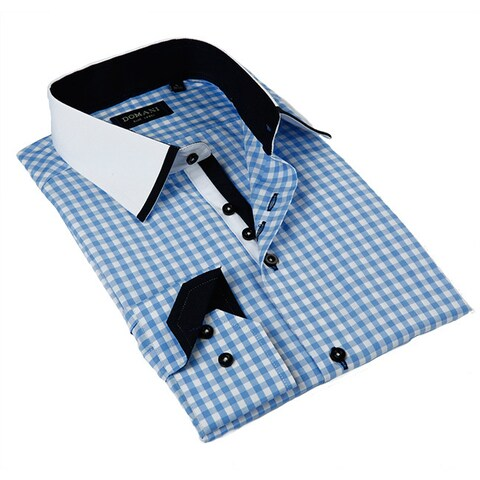 Domani Blue Luxe Men's Light Blue Ginghan Button-down Dress Shirt