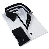 Domani Blue Luxe Men's White and Black Button-down Dress Shirt