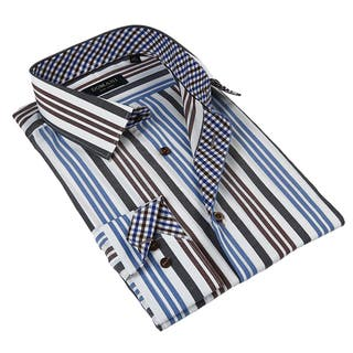 Domani Blue Luxe Men's Multicolor Stripes Button-down Dress Shirt|https://ak1.ostkcdn.com/images/products/9493749/P16674262.jpg?impolicy=medium