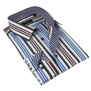 Domani Blue Luxe Men's Multicolor Stripes Button-down Dress Shirt